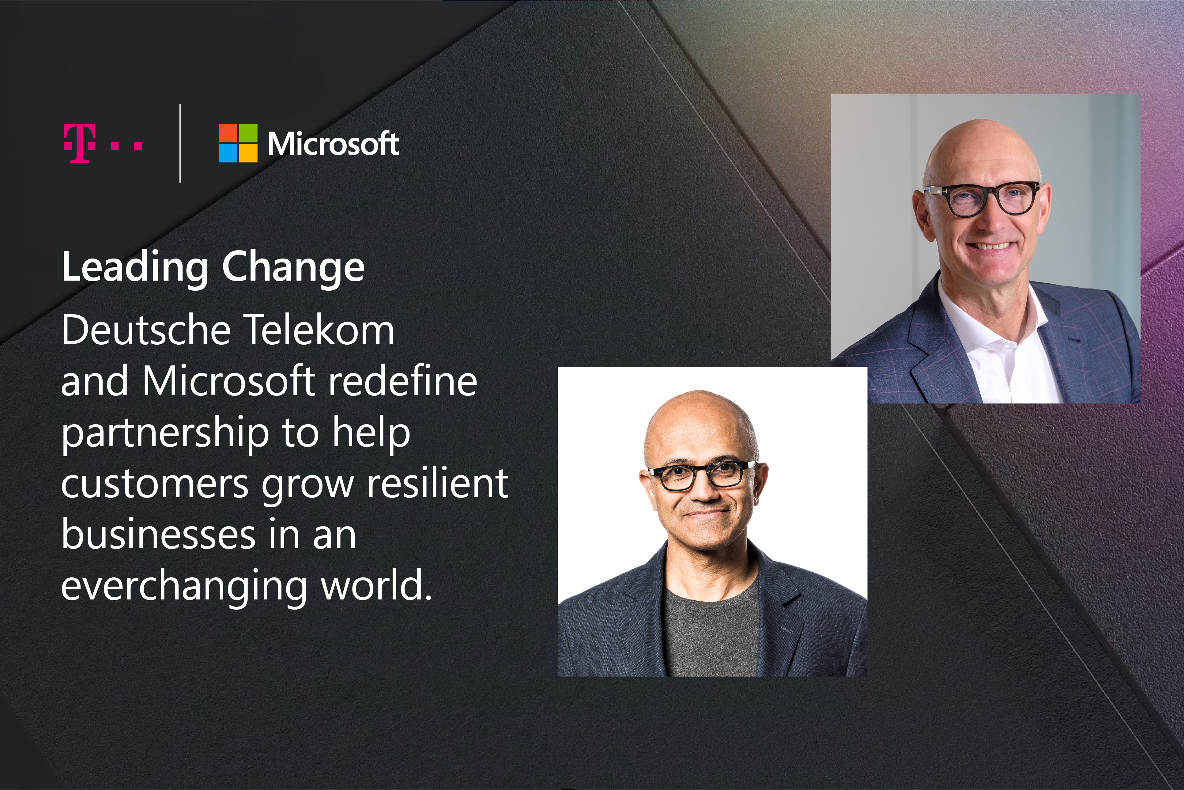 Portretfoto's van Tim Höttges en Satya Nadella incl. verklaring over de samenwerking tussen Deutsche Telekom en Microsoft.